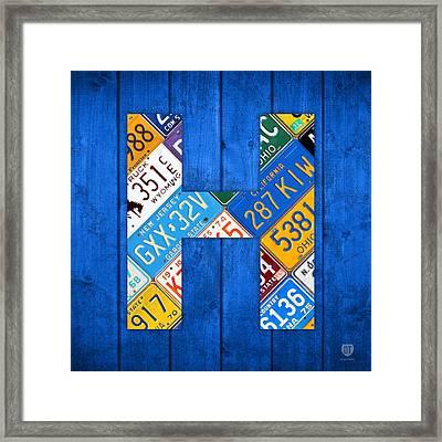H License Plate Letter Art Blue Background Framed Print