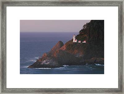 Haceta Head Lighthouse At Sunset Framed Print