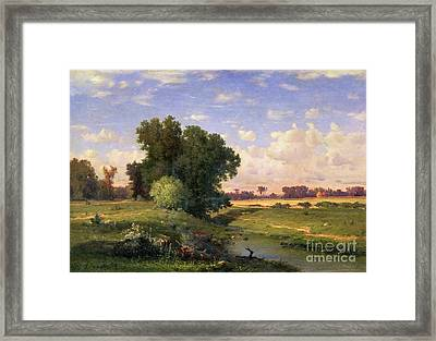 Hackensack Meadows - Sunset Framed Print by George Snr Inness