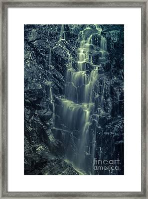 Hadlock Falls In Acadia National Park - Monochrome Framed Print