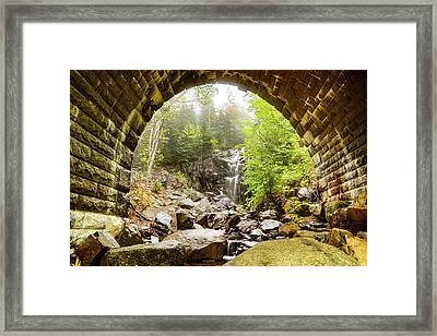 Framed Print featuring the photograph Hadlock Falls Under Carriage Road Arch by Jeff Folger