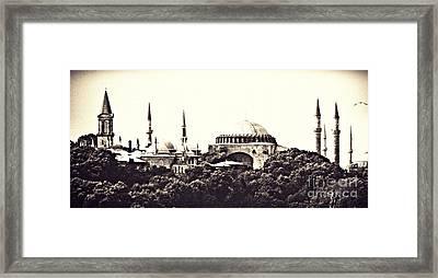 Hagia Sophia Panorama Sepia Framed Print by Sarah Loft
