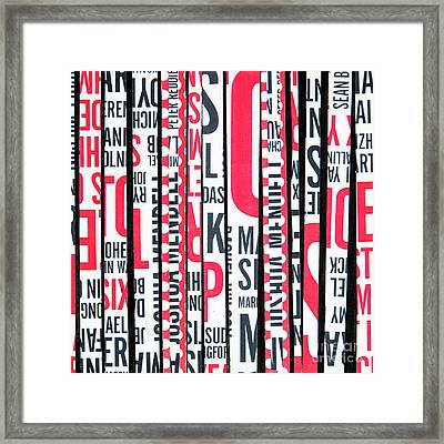 Haiku In Red And Black Framed Print