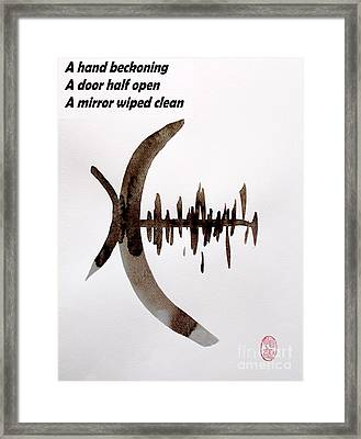 Haiku Poem And Painting Framed Print by Roberto Prusso