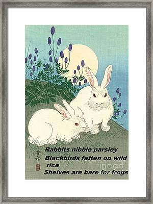 Framed Print featuring the painting Haiku  Rabbits Nibble Parsley by Pg Reproductions