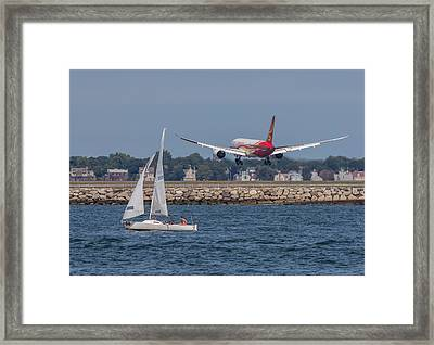 Hainan Airlines 787 Dreamliner Landing At Logan Framed Print by Brian MacLean