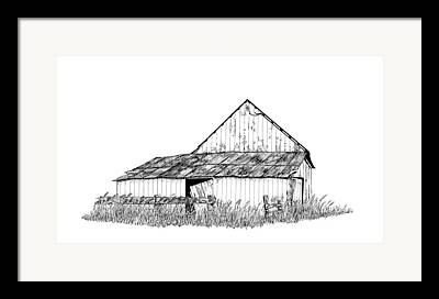 Old Barn Pen And Ink Paintings Framed Prints