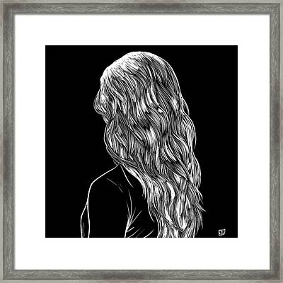Framed Print featuring the drawing Hair In Black by Giuseppe Cristiano