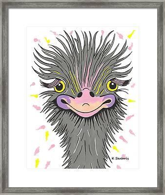 Hair Raising Day - Contemporary Ostrich Art Framed Print