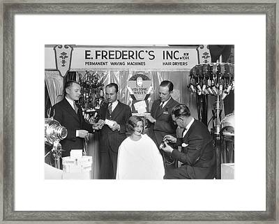 Hair Salon Demonstration Framed Print by Underwood Archives