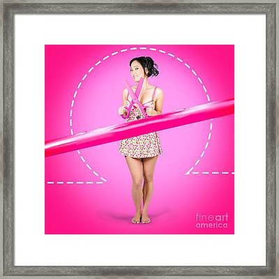 Hair Salon Woman With Scissors. Cut Price Sale Framed Print