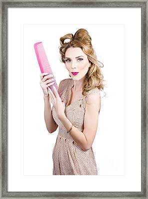 Hair Style Model. Pinup Girl With Large Pink Comb Framed Print