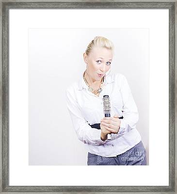 Hair Stylist Singing Into Hair Comb On Copyspace Framed Print by Jorgo Photography - Wall Art Gallery