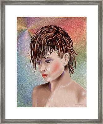 Hairstyle Of Colors Framed Print by Arline Wagner