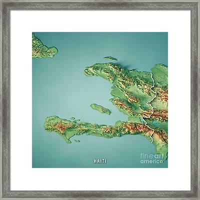 Haiti 3d Render Topographic Map Border Framed Print