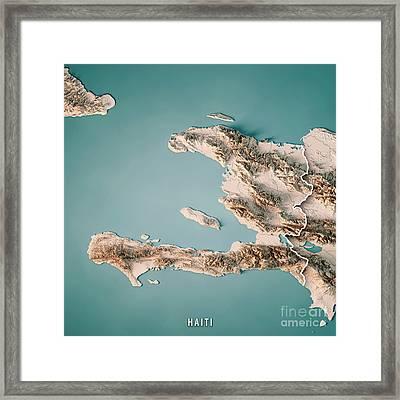 Haiti 3d Render Topographic Map Neutral Border Framed Print