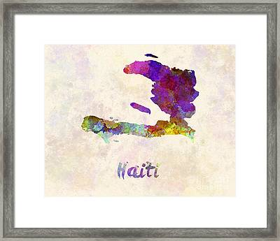 Haiti In Watercolor Framed Print by Pablo Romero