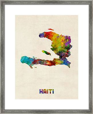 Haiti Watercolor Map Framed Print