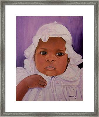 Framed Print featuring the painting Haitian Baby Orphan by Quwatha Valentine