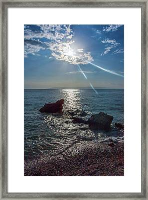 Haitian Beach In The Late Afternoon Framed Print