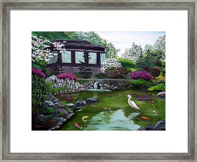 Hakone Gardens Pond In The Spring Framed Print by Laura Iverson