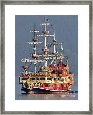 Hakone Sightseeing Cruise Ship Sailing On Lake Ashi Hakone Japan Framed Print by Andy Smy