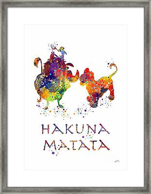 Hakuna Matata Watercolor Art Print  Framed Print by Svetla Tancheva