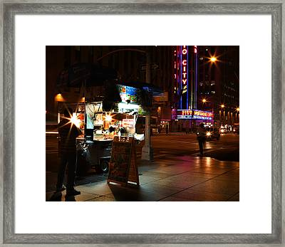 Halal Vendor At Radio City Music Hall Framed Print by Lee Dos Santos