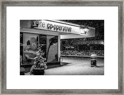 Hale Barns Co-op In The Snow Framed Print