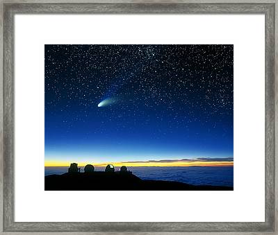 Hale-bopp Comet And Telescope Domes Framed Print by David Nunuk