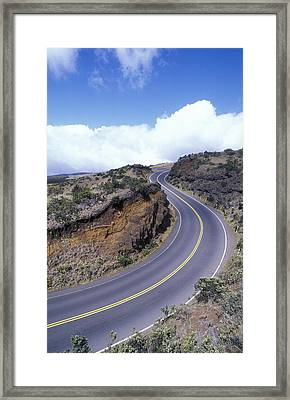 Haleakala Highway At A 10 Mph Turn Framed Print by Rich Reid