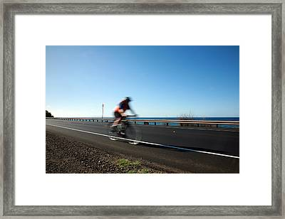Haleakala Highway Bike Ride Framed Print by Michael Ledray
