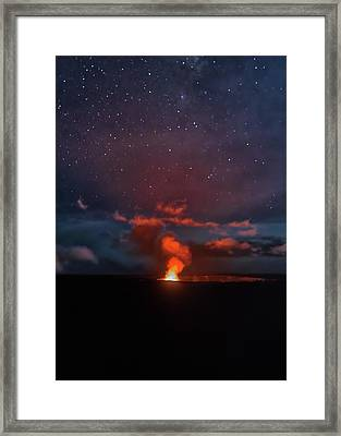 Framed Print featuring the photograph Halemaumau Crater At Night by Susan Rissi Tregoning