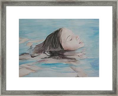 Haley In The Pool Framed Print by Charlotte Yealey