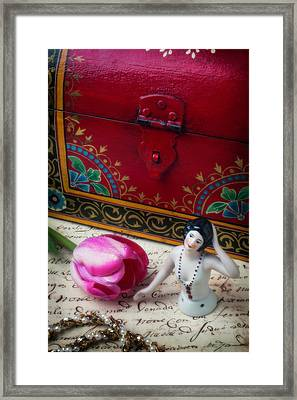 Half Doll With Red Chest Framed Print by Garry Gay