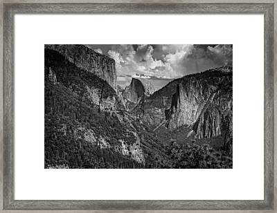 Half Dome And El Capitan In Black And White Framed Print