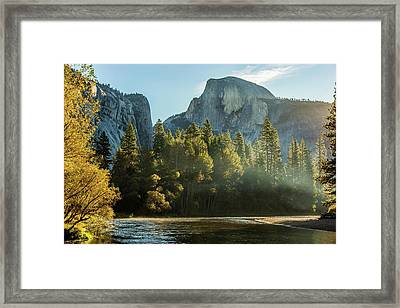 Half Dome And Merced River Autumn Sunrise Framed Print