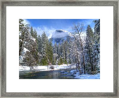 Half Dome And The Merced River Framed Print by Bill Gallagher