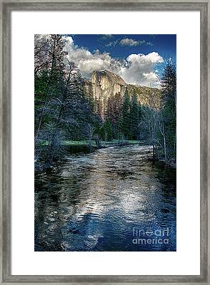 Half Dome And The Merced River In Yosemite Framed Print