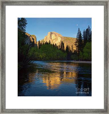Half Dome And The Merced River With The Moon Framed Print