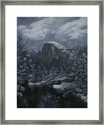 Half Dome Black And White  Framed Print by Travis Day