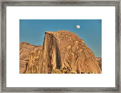 Half Dome Full Moon Rising Framed Print by Connie Cooper-Edwards