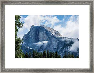 Half Dome In The Clouds Framed Print