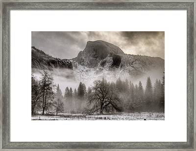 Half Dome In Winter Framed Print by Connie Cooper-Edwards