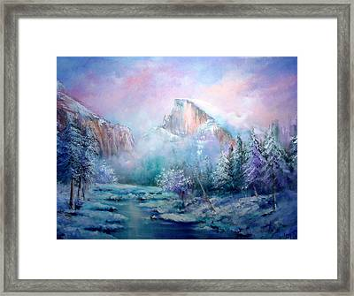 Half Dome Snow Framed Print by Sally Seago