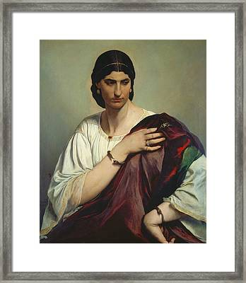 Half-length Portrait Of A Roman Woman Framed Print by Anselm Feuerbach