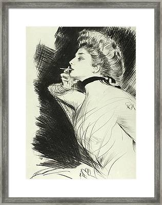 Half Length Portrait Of A Seated Woman, Smoking A Cigarette, Facing Left Framed Print by Paul Helleu