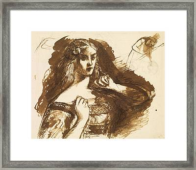 Half-length Sketch Of A Young Woman Framed Print by Dante Gabriel Rossetti