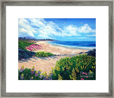 Half Moon Bay In Bloom Framed Print by Laura Iverson