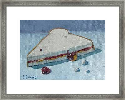 Half Pb And J With Crumbs Series 5 Framed Print by Jennifer Boswell